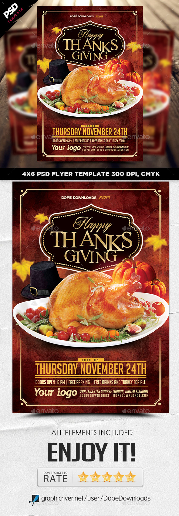 Happy Thanksgiving 2016 Flyer - Holidays Events