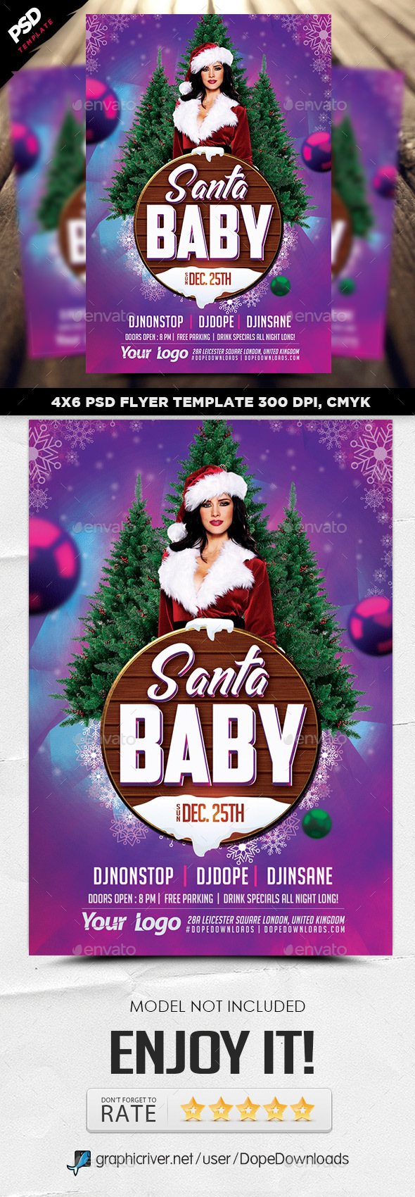 Santa Baby Flyer Template - Holidays Events