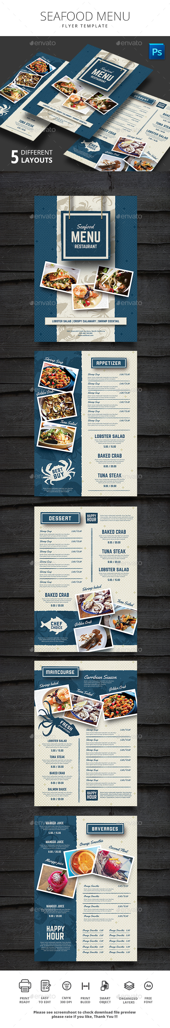 Seafood Restauran Menu - Food Menus Print Templates