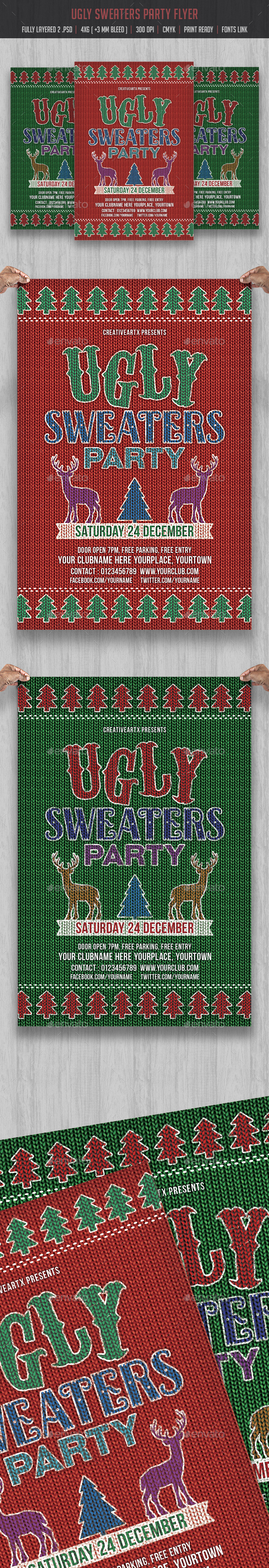 Ugly Sweaters Party Flyer - Events Flyers