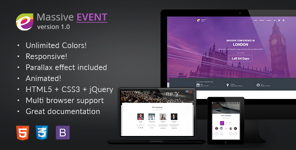 MASSIVE EVENT – Conference and Event HTML5/CSS3 Template