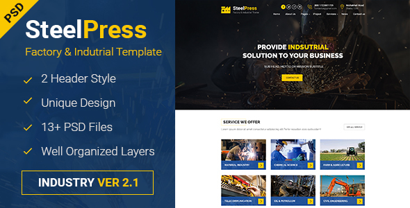 SteelPress – Industrial & Factory Business PSD Template