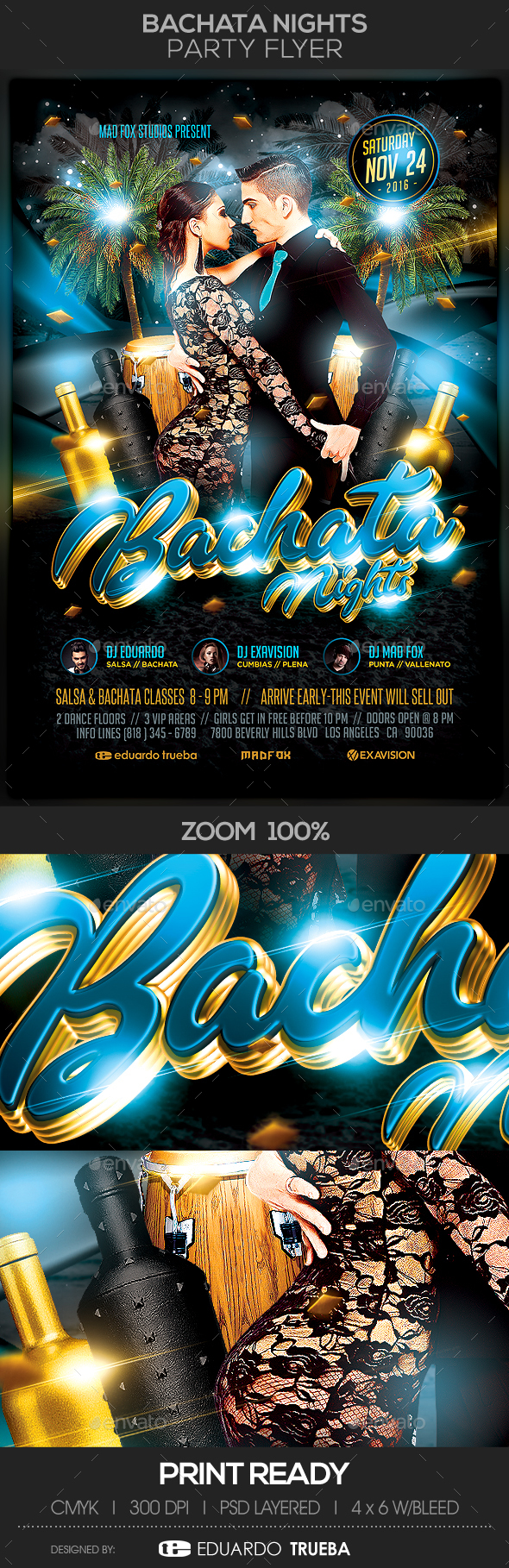 Bachata Nights Party Flyer - Flyers Print Templates