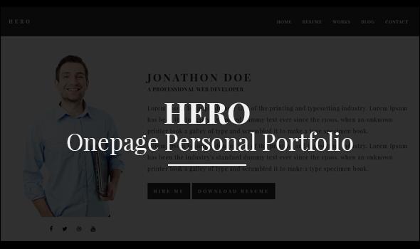 Hero - Onepage Personal Portfolio - Personal Site Templates