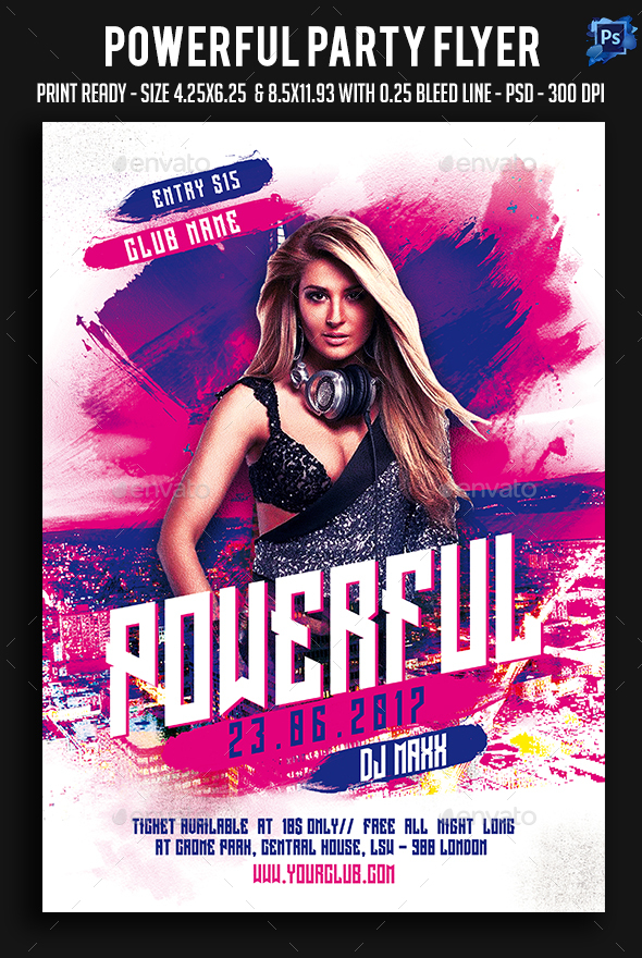 Powerful Party Flyer - Clubs & Parties Events
