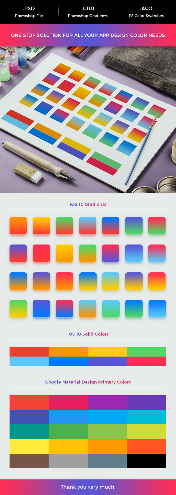 iOS & Android App Color Swatches & Gradients Pack - Miscellaneous Textures / Fills / Patterns