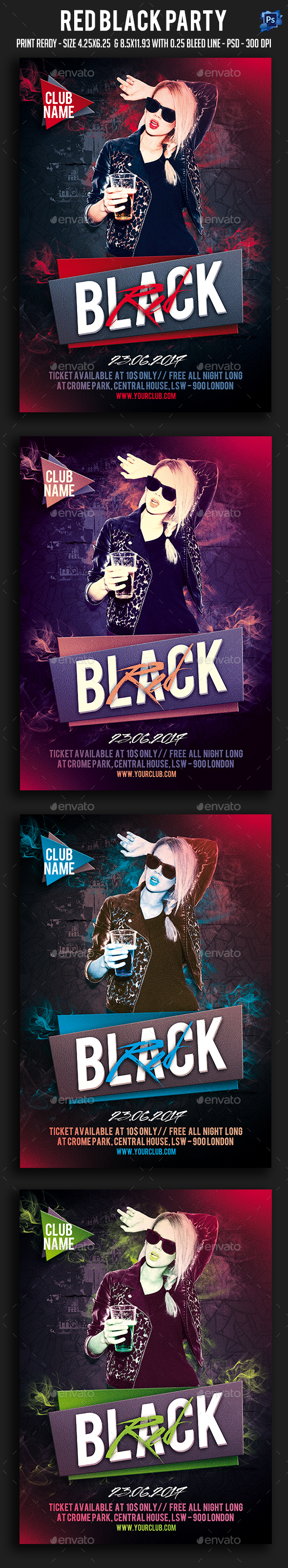 Red Black Party Flyer - Clubs & Parties Events