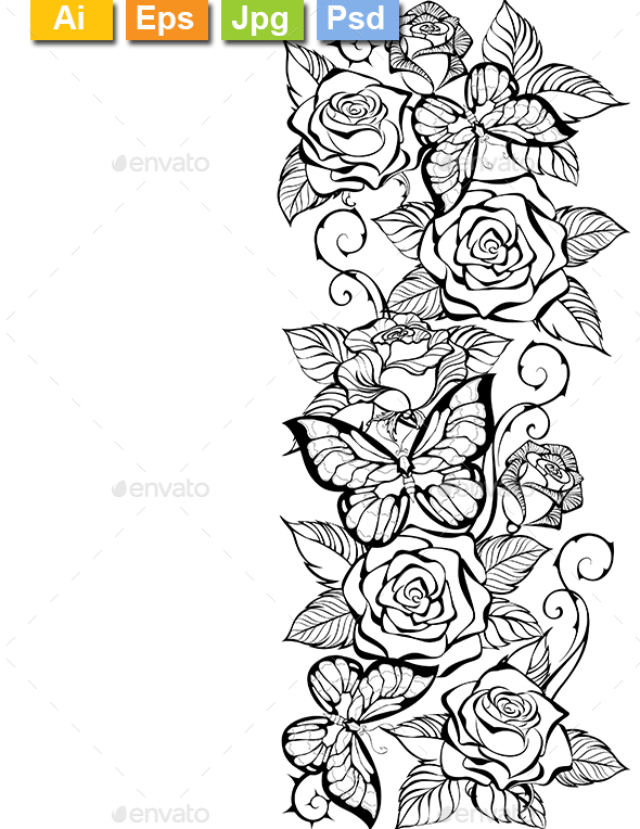 Edge of Contour Roses and Butterflies - Borders Decorative