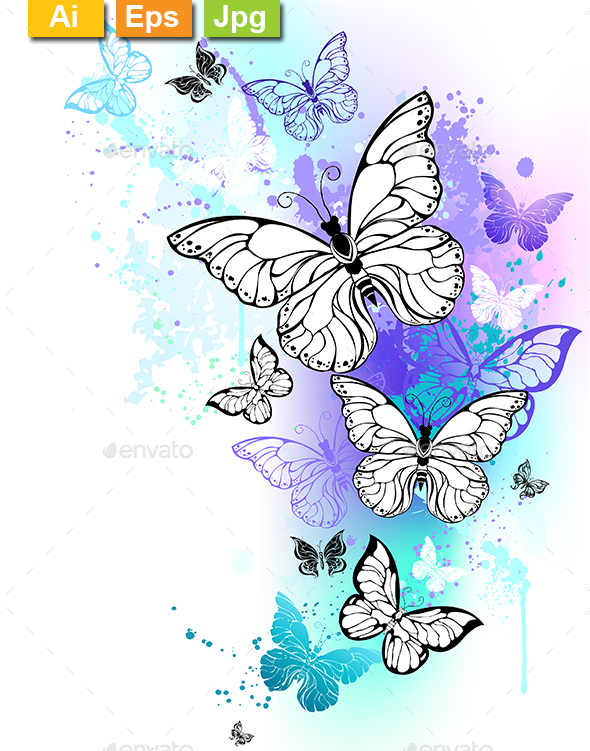 Flying Butterflies Watercolor - Backgrounds Decorative