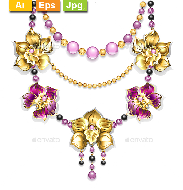 Necklace with Orchids - Man-made Objects Objects