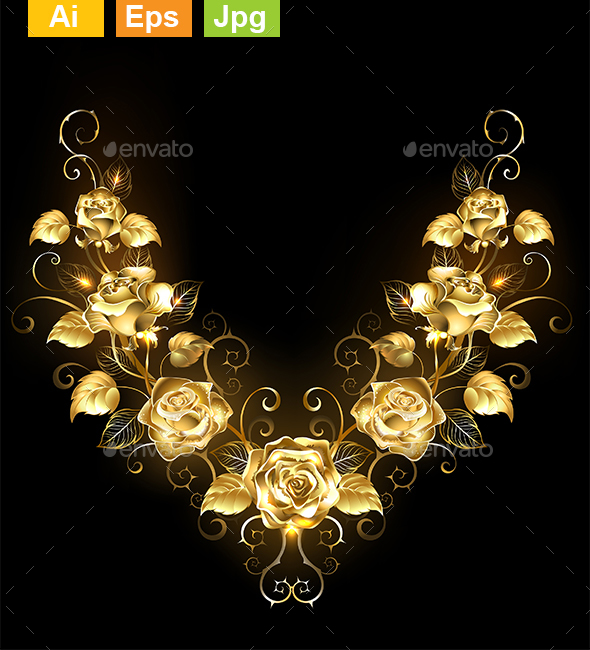 Symmetrical Pattern of Golden Roses - Flourishes / Swirls Decorative