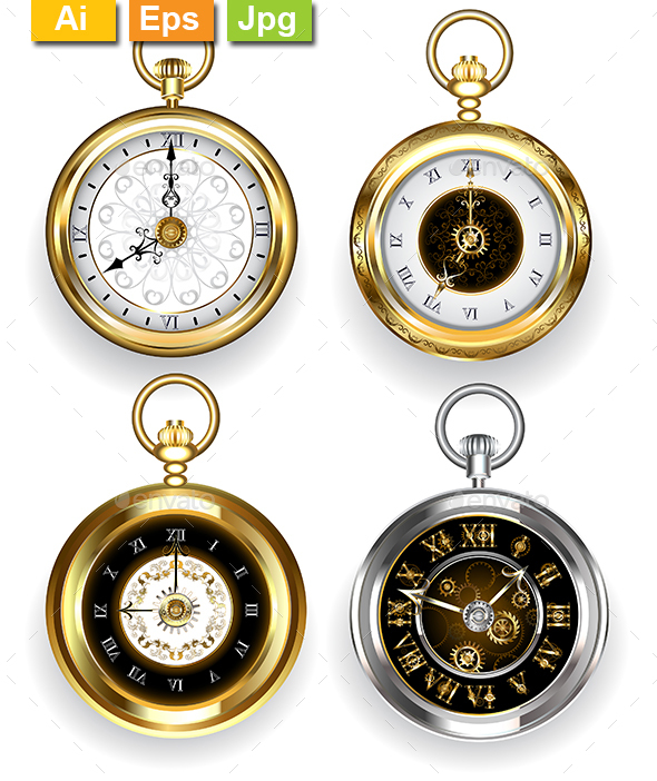 Set of Round Clock - Man-made Objects Objects