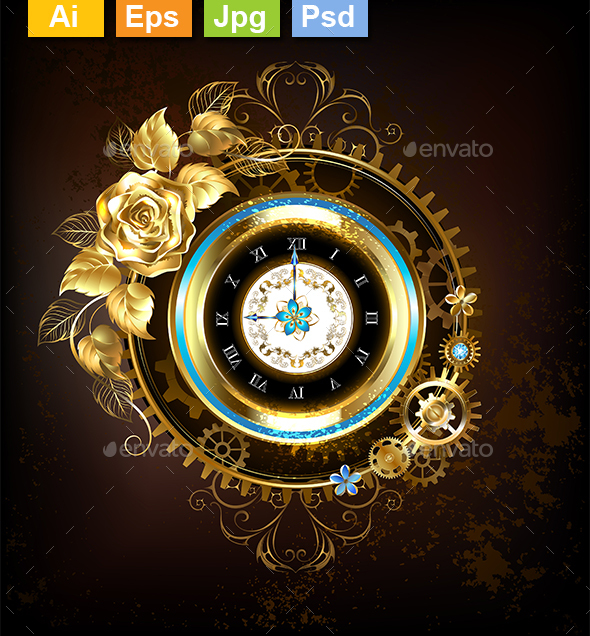 Gold Clock with Gold Rose - Decorative Symbols Decorative