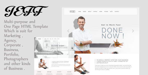 Jeff – OnePage and Multipage Creative , Corporate Agency, Business and Portfolio  HTML Template
