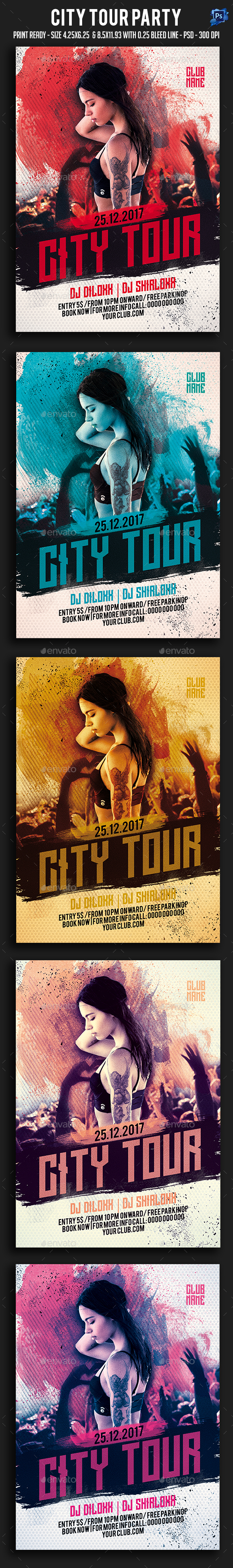 City Tour Party Flyer - Clubs & Parties Events