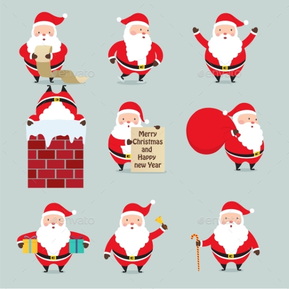 Set Of Santa Claus On Christmas. - Christmas Seasons/Holidays