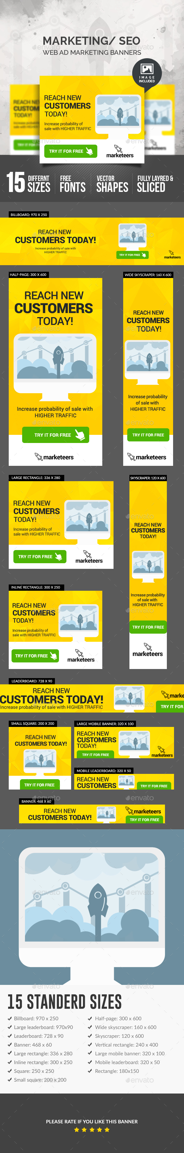Marketing Seo Banners - Banners & Ads Web Elements