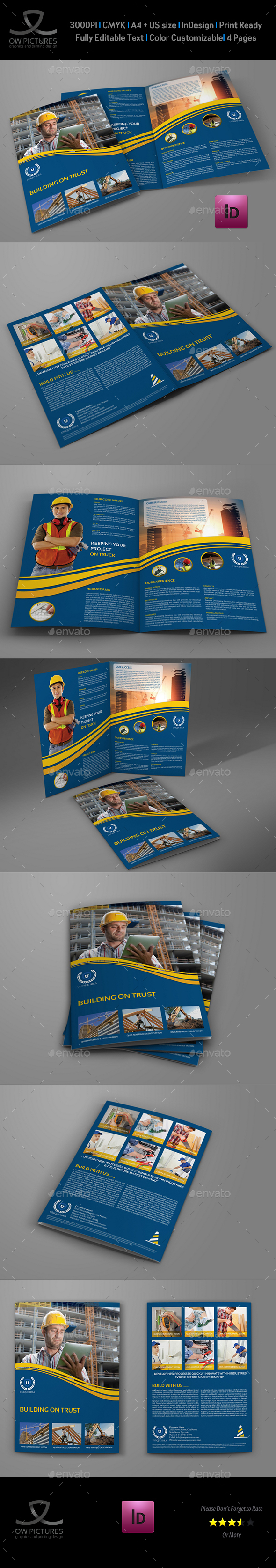 Construction Company Brochure Bi-Fold Template Vol.3 - Brochures Print Templates