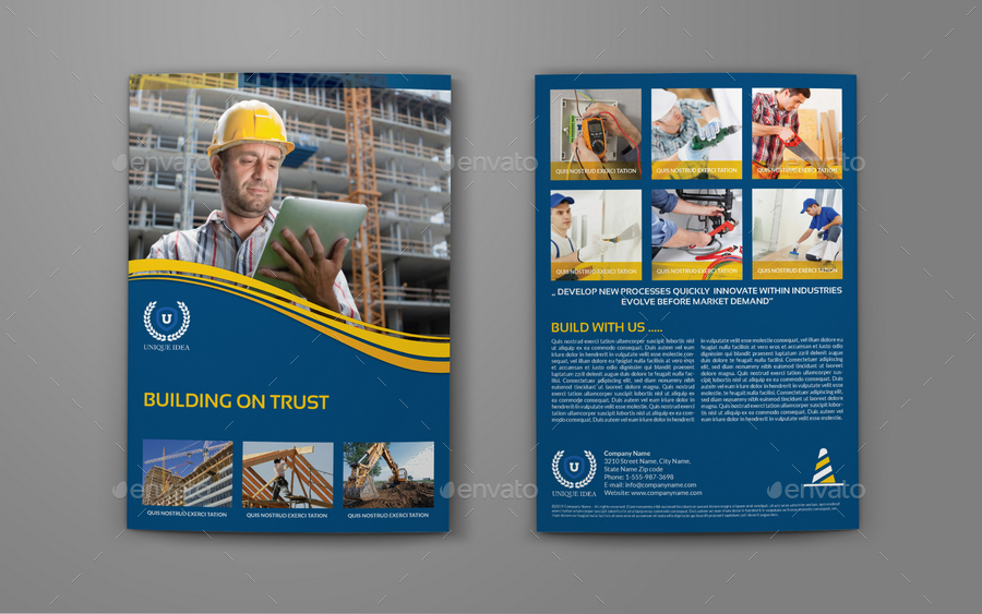 Construction Company Brochure BiFold Template Vol By OWPictures - Construction brochure templates