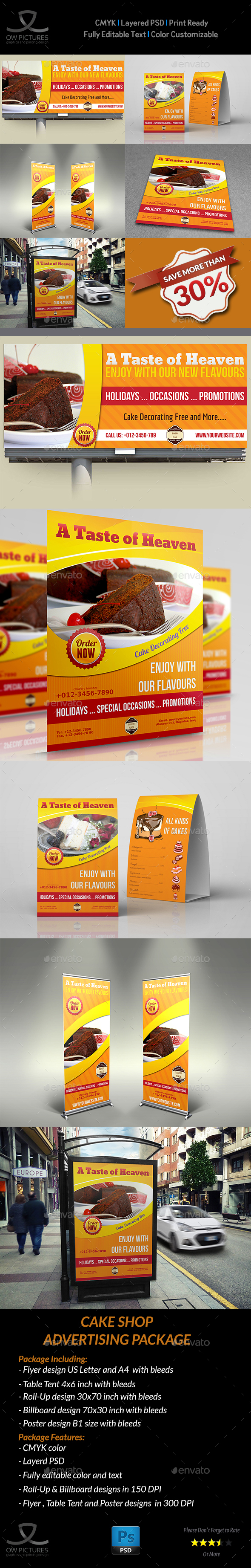 Cake and Cafe Advertising Bundle - Signage Print Templates