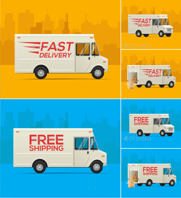Delivery Truck Illustrations - Services Commercial / Shopping