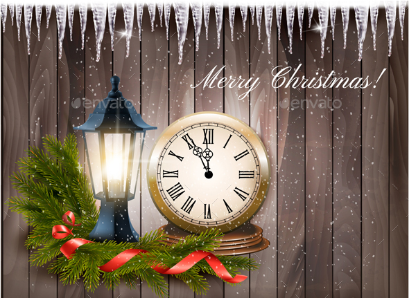 Christmas Background With A Lantern And Clock And Gift Ribbon Vector. - Christmas Seasons/Holidays