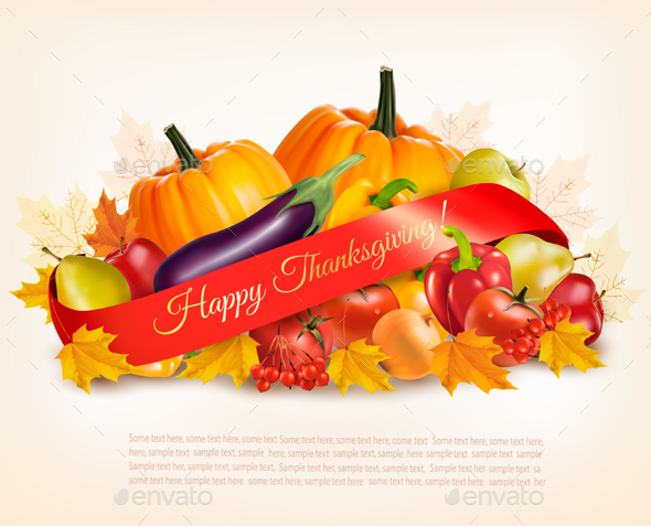 Happy Thanksgiving Banner With Autumn Vegetables Vector - Seasons/Holidays Conceptual