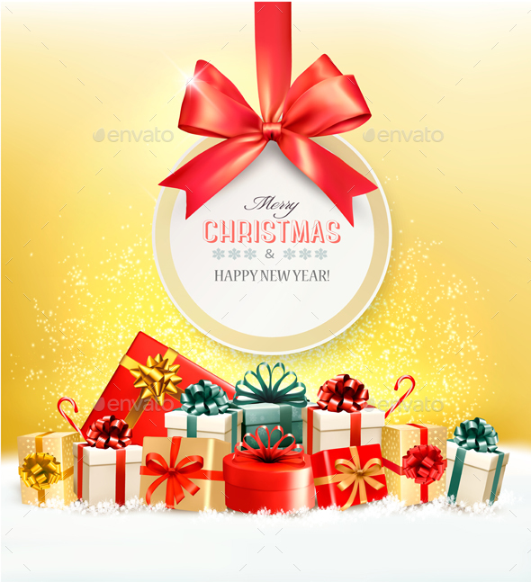 Christmas Presents With A Gift Card And A Ribbon Vector - Christmas Seasons/Holidays