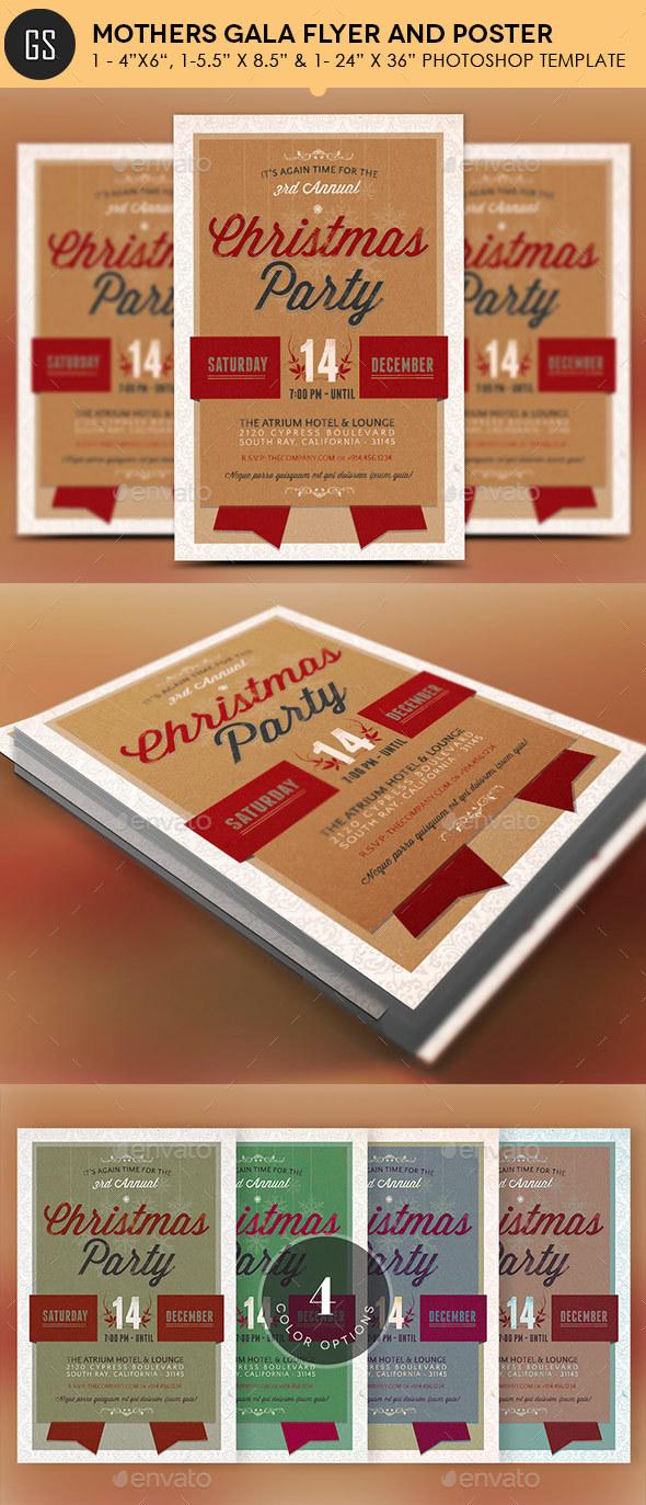 Vintage christmas party invitations - Retro Christmas Party Invitation Template Holidays Events