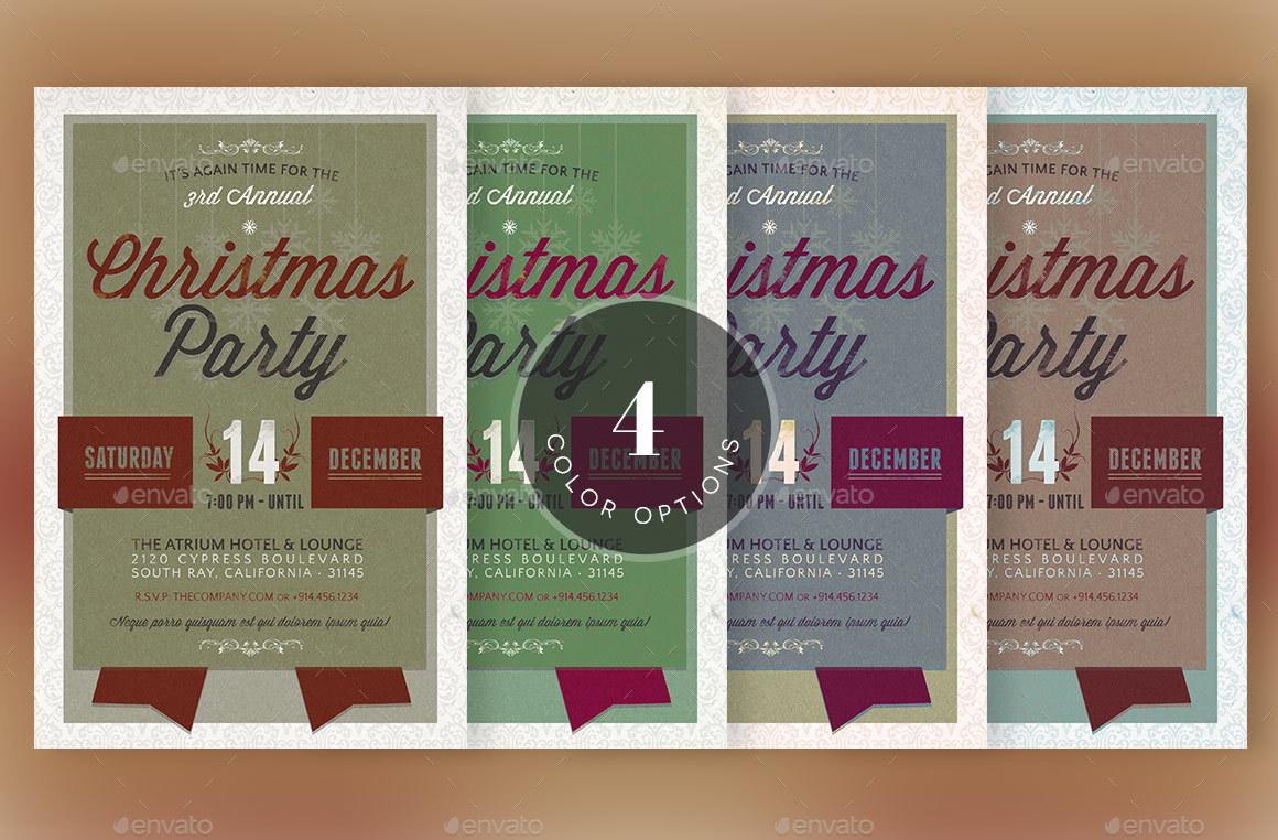 Retro Christmas Party Invitation Template by Godserv2 | GraphicRiver