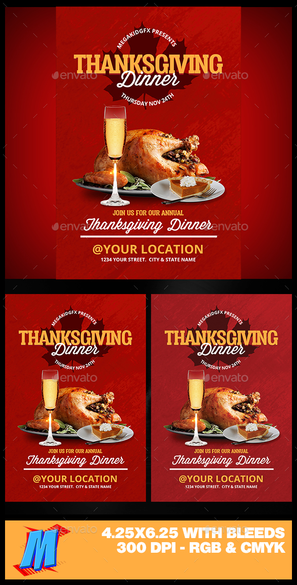 Thanksgiving Dinner Flyer Template - Clubs & Parties Events