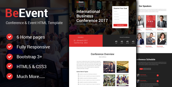 BeEvent – Conference & Event HTML Template