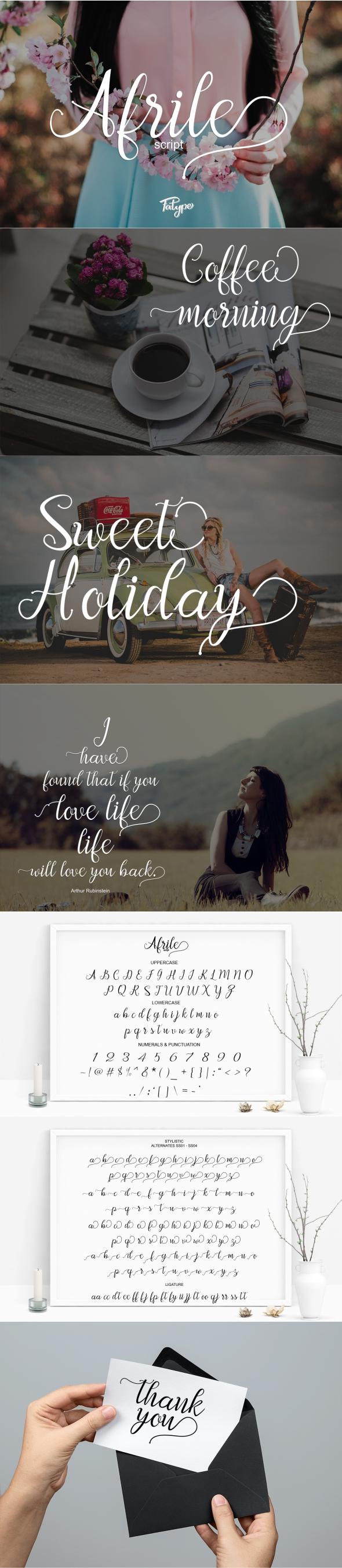 Afrile script - Script Fonts