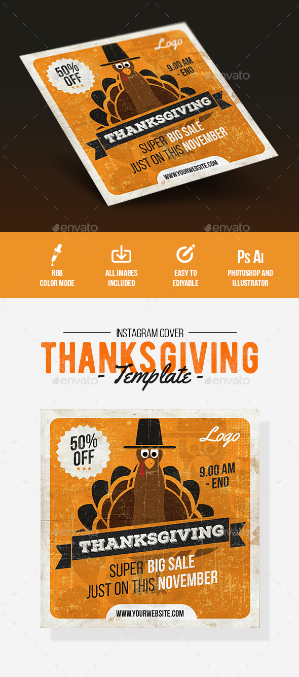 Thanksgiving Sale Instagram Cover - Social Media Web Elements