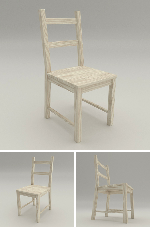 Pine Wood Chair - 3DOcean Item for Sale
