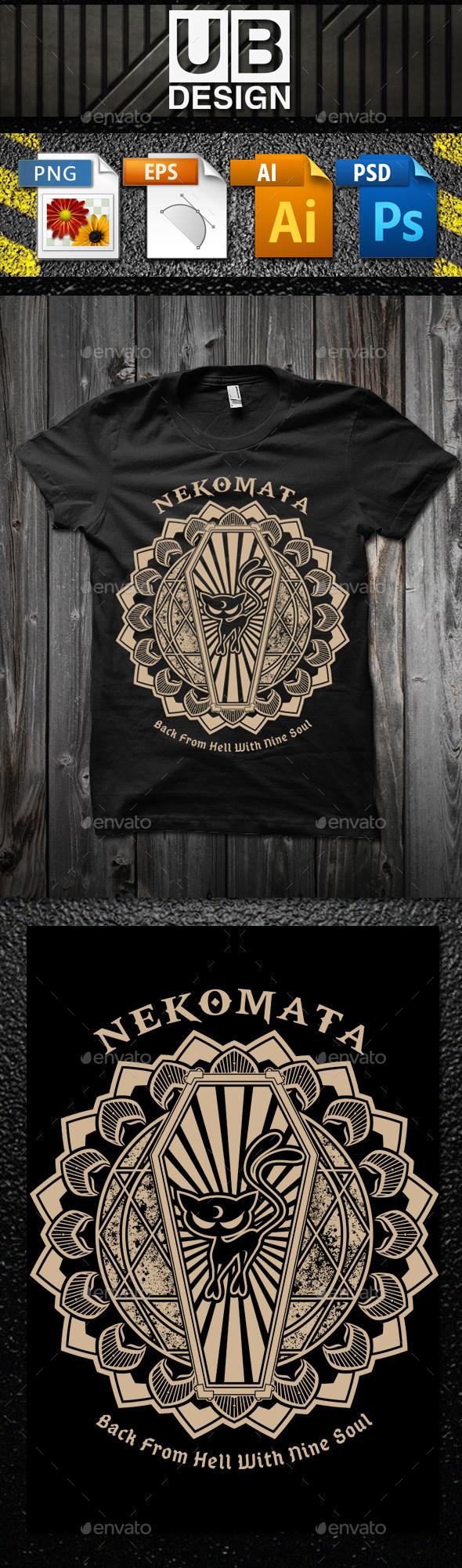 Nekomata T-Shirt Template - Grunge Designs
