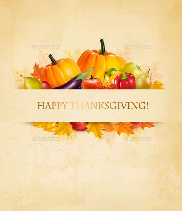 Thanksgiving Background With Autumn Fruit - Food Objects