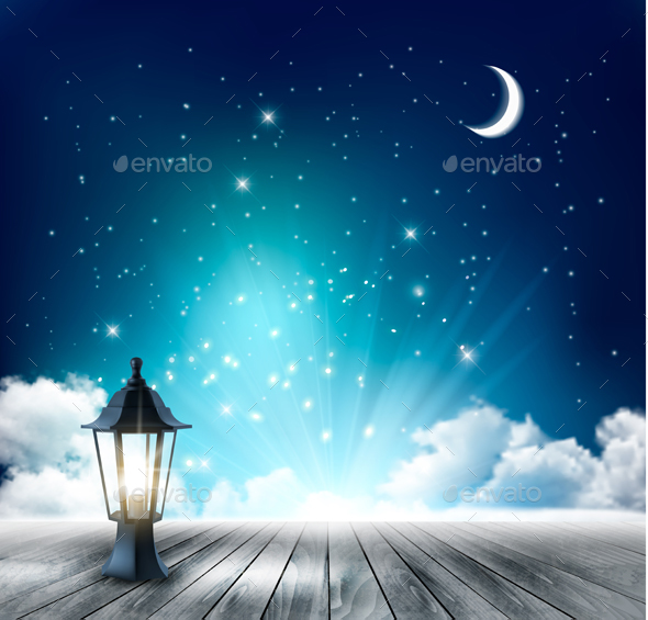 Beautiful magical Night Background With Moon And Lantern. Vector. - Nature Conceptual