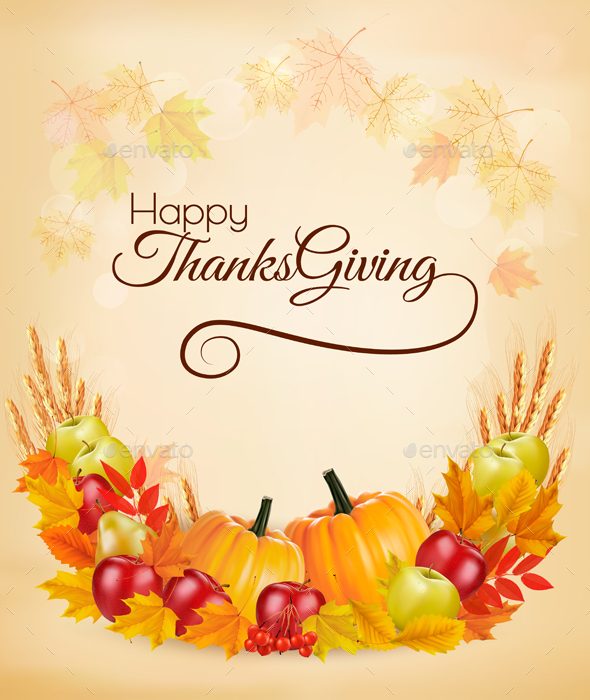 Happy Thanksgiving Background With Colorful Autumn Leaves - Christmas Seasons/Holidays