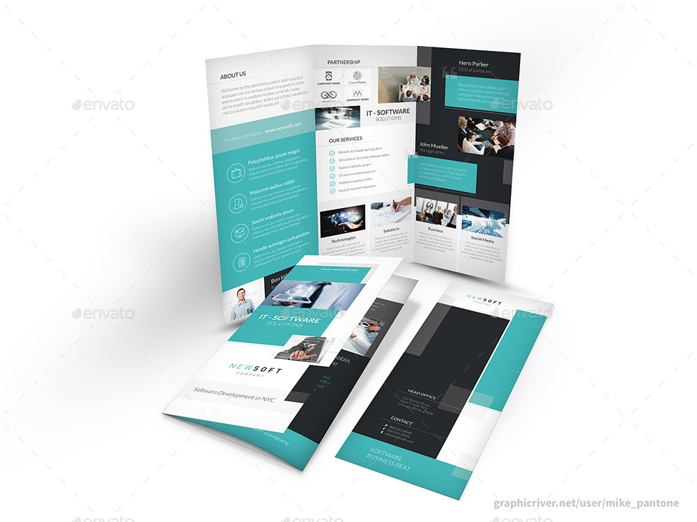 Software Company Trifold Brochure By Mike_Pantone | Graphicriver