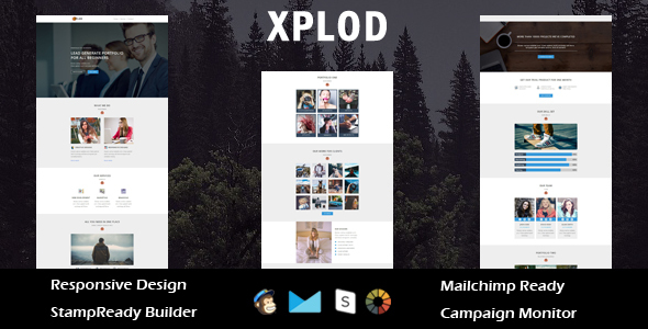 Image of XPLOD- Multipurpose Responsive Email Template + Stamp Ready Builder Online Access