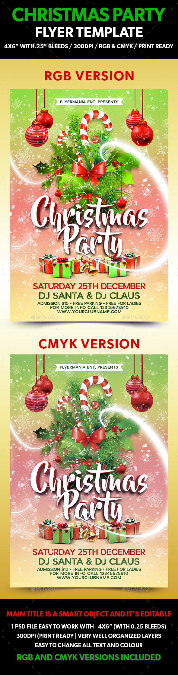 Christmas Party Flyer Template - Flyers Print Templates