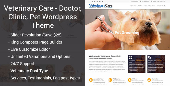 Pet Care - Veterinary, Doctor, Clinic, Medical WordPress Theme