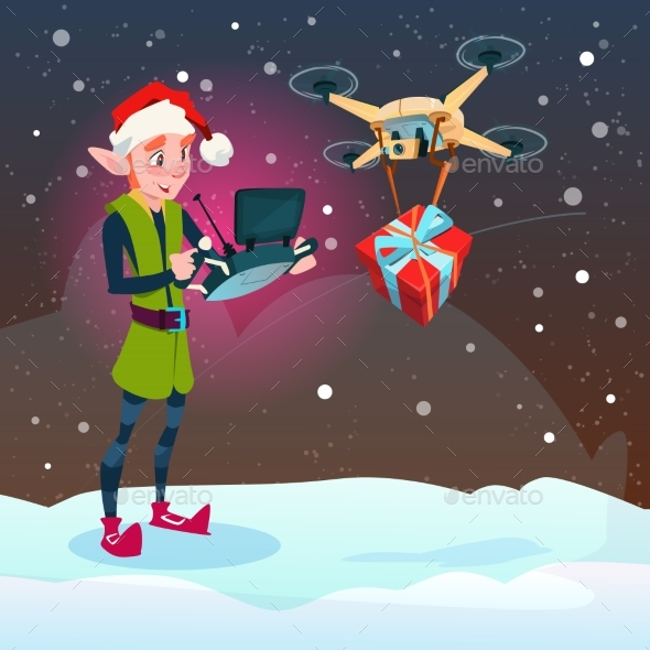 Green Elf Hold Remove Controller Drone Delivery - Christmas Seasons/Holidays