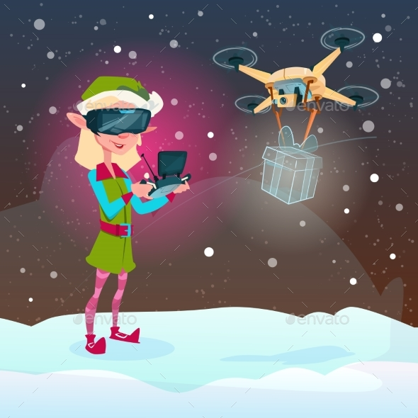 Elf Girl Wear Virtual Reality Digital Glasses - Christmas Seasons/Holidays