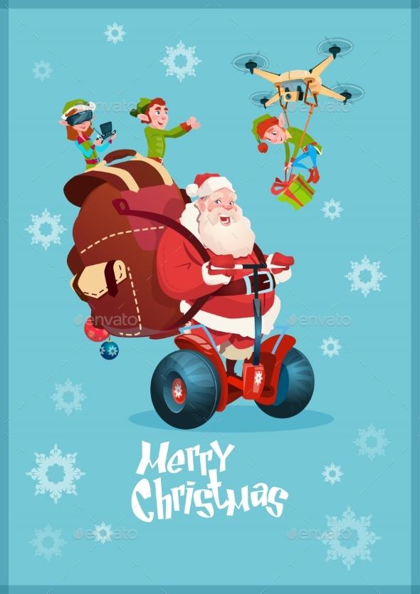 Santa Claus Ride Electric Segway, Elf Flying Drone - Christmas Seasons/Holidays