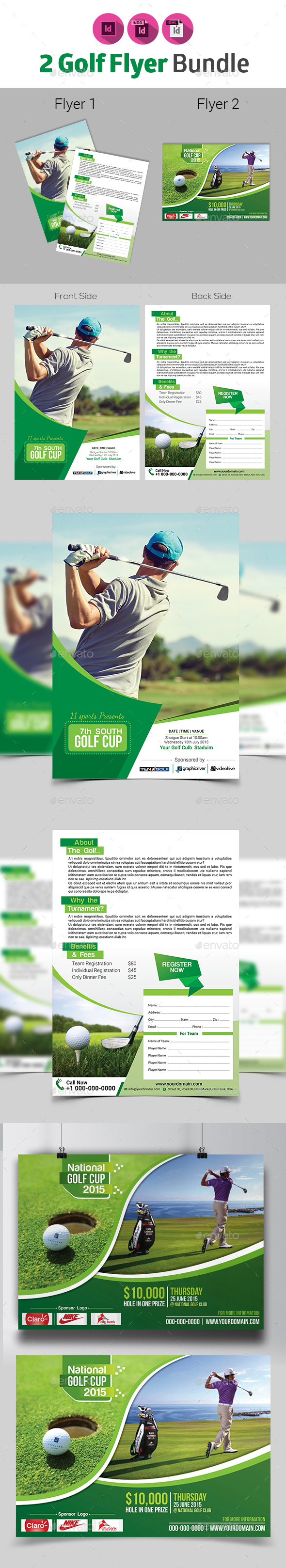 2 in 1 Golf Flyer Bundle - Sports Events