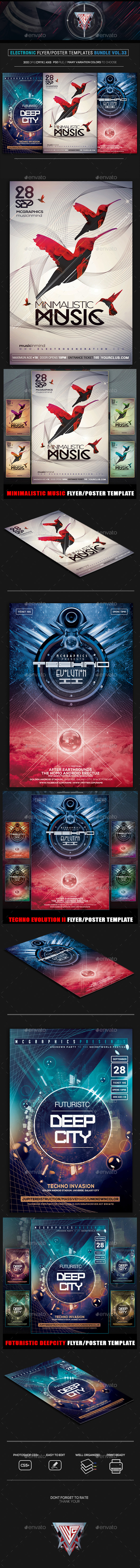 Electro Music Flyer Bundle Vol. 33 - Flyers Print Templates