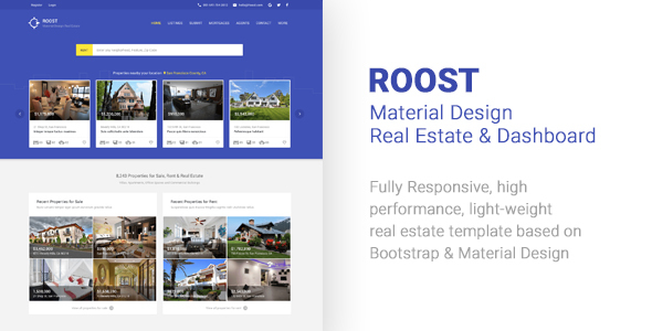 Roost Material Design Real Estate + Dashboard