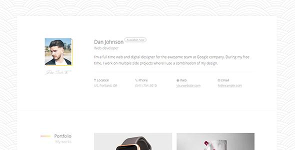 Neogen – Responsive CV / Resume / Personal / Portfolio HTML Template